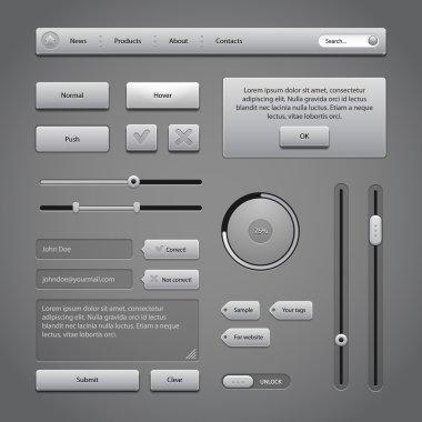 Gray UI Controls Web Elements 2: Buttons, Comments, Sliders, Message Box, Preloader, Loader, Tag Labels, Unlock