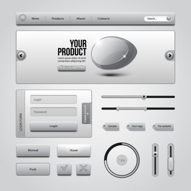 Light Gray UI Controls Web Elements 3: Buttons, Login Form, Authorization, Sliders, Banner, Box, Preloader, Loader, Tag Labels