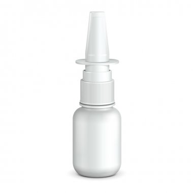 Spray Medical Nasal Antiseptic Drugs Plastic Bottle White. Ready For Your Design. Product Packing Vector EPS10