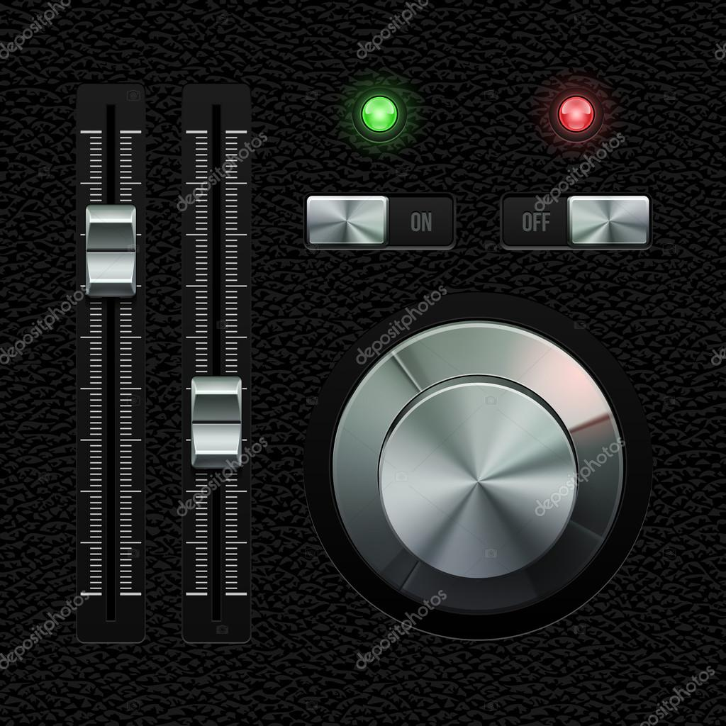 Hi-End UI Analog Volume Equalizer Level Mixer, Volume Knob Chrome On