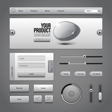 Gray UI Controls Web Elements 3: Buttons, Login Form, Authorization, Sliders, Banner, Box, Preloader, Loader, Tag Labels