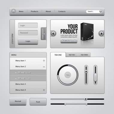 Light Gray UI Controls Web Elements 4: Buttons, Login Form, Authorization, Sliders, Banner, Box, Preloader, Loader, Accordion, Menu, Tabs, Search