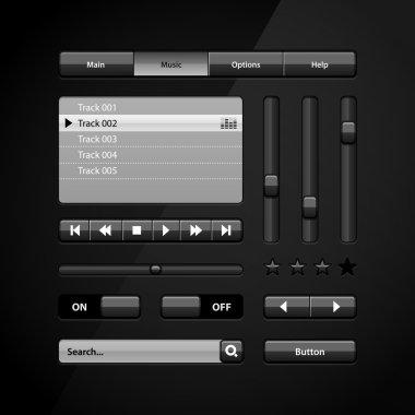 Clean Dark User Interface Controls 6. Web Elements. Website, Software UI: Buttons, Switchers, Arrows, Drop-down, Navigation Bar, Menu, Search, Equalizer, Mixer, Levels, Play List, Player, Progress