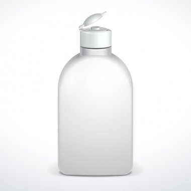 Opened Cosmetic Or Hygiene Grayscale White Plastic Bottle Of Gel, Liquid Soap, Lotion, Cream, Shampoo. Ready For Your Design. Illustration Isolated On White Background. Vector EPS10
