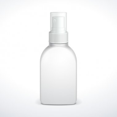 Spray Medicine Antiseptic Drugs Plastic Bottle White. Ready For Your Design. Product Packing Vector EPS10