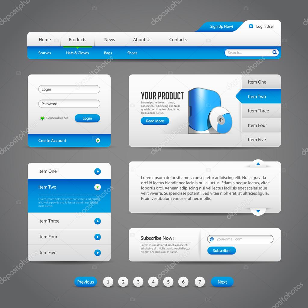 Web Ui Controls Elements Gray And Blue On Dark Background 2