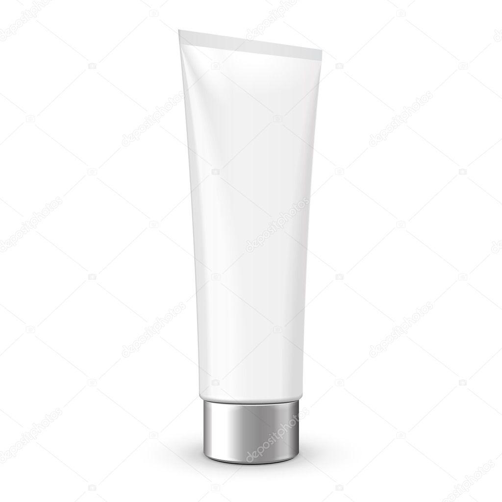 tubo de crema o gel en escala de grises blanco plata con tapa gris cromo