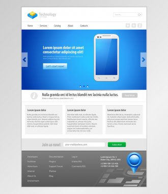 Technology System Website Template Design Smartphone Application Web Elements. Vector EPS10
