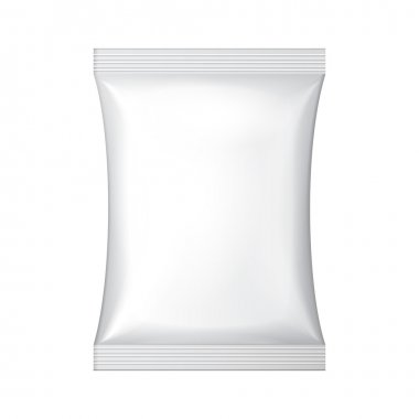 White Blank Foil Food Snack Sachet Bag Packaging For Coffee, Salt, Sugar, Pepper, Spices, Sachet, Sweets, Chips, Cookies Or Candy. Plastic Pack Template Ready For Your Design. Vector EPS10 stock vector