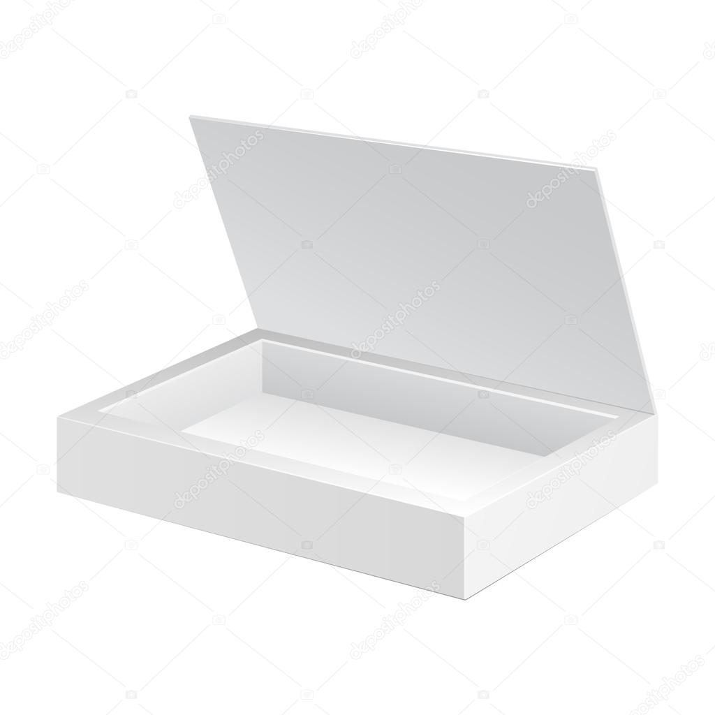 ouvre la bo te d 39 emballage en carton blanc bonbons cadeau sur fond blanc isol pr t pour. Black Bedroom Furniture Sets. Home Design Ideas