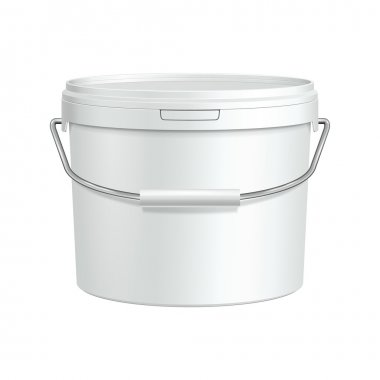 White Tub Paint Plastic Bucket Container With Metal Handle. Plaster, Putty, Toner. Ready For Your Design. Product Packing Vector EPS10
