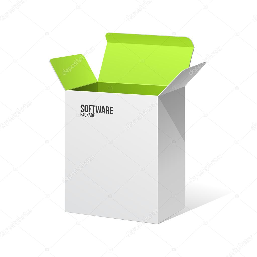 Software Package Box Opened White Inside Green