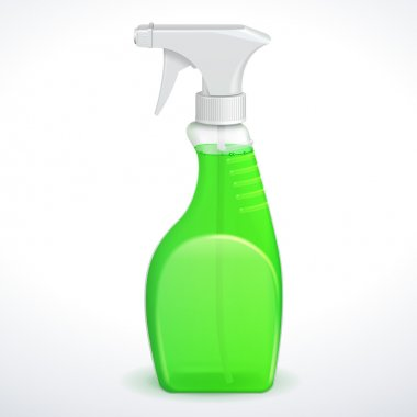 Spray Pistol Cleaner Plastic Bottle White With Green Liquid Transparent. Vector EPS10