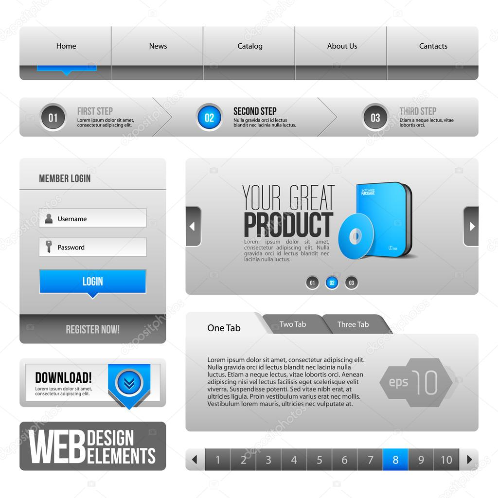 Moderni Cisty Web Design Prvky Seda Modra Seda Tlacitka Formulare