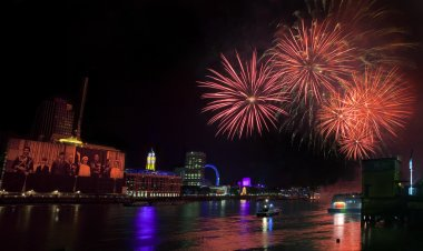 The firework show at the end of the 2012 Thames Festival in London. stock vector