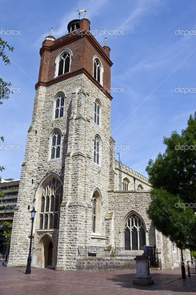 The historic St. Giles Without Cripplegate Church located in the Barbican Estate in London.