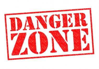 DANGER ZONE red Rubber Stamp over a white background. stock vector