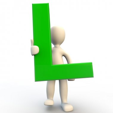 3D human character holding green letter L