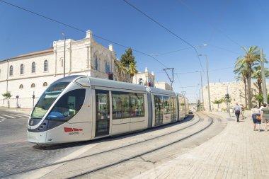 modern tram in central jerusalem israel