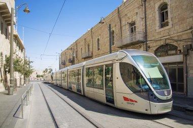 modern tram in jerusalem israel