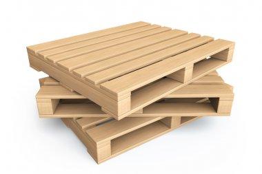 Logistic concept. Wooden pallets