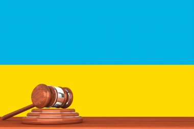 Gavel with Flag Of Ukraine