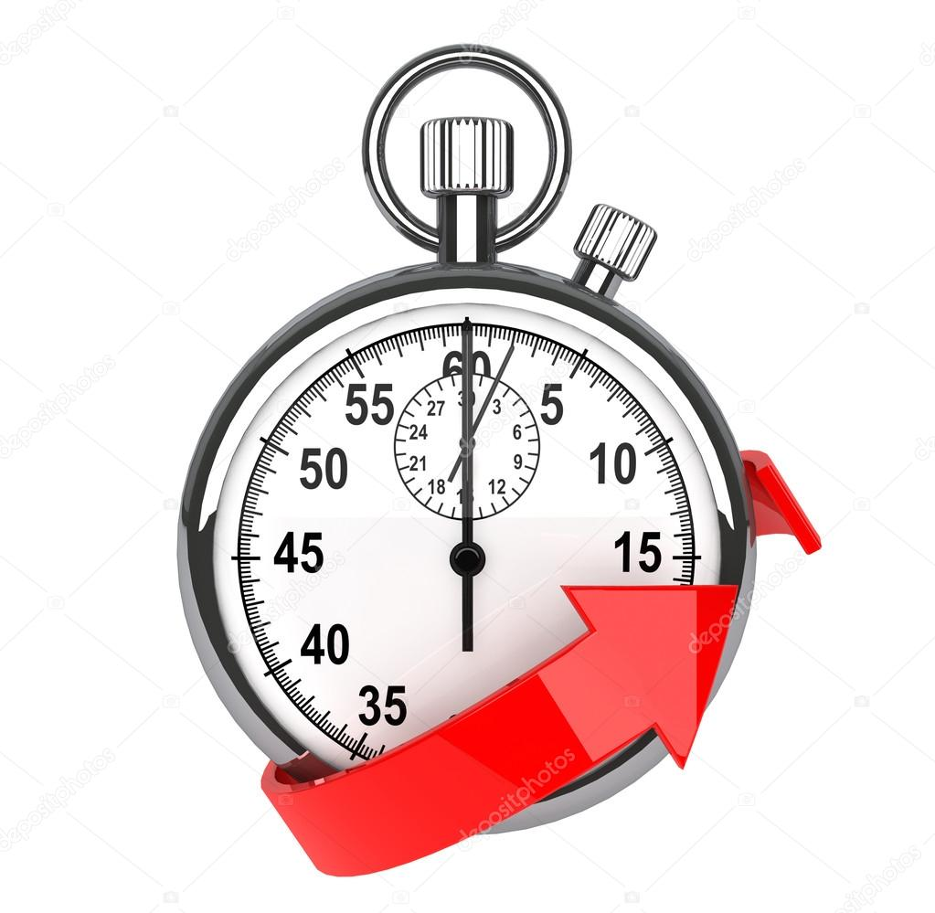 Stopwatch with red arrow