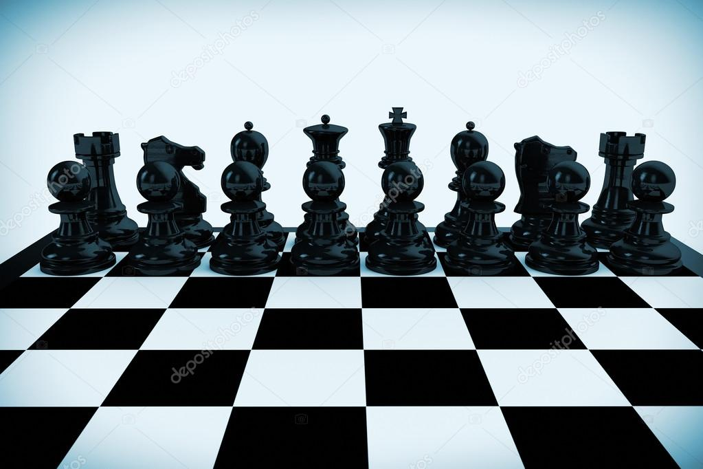 Chess board set up to begin a game in blue key \u2014 Photo by doomu & Chess board set up to begin a game \u2014 Stock Photo © doomu #24059857