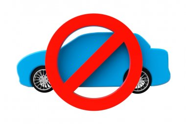 No cars allowed concept. Car with not allowed symbol