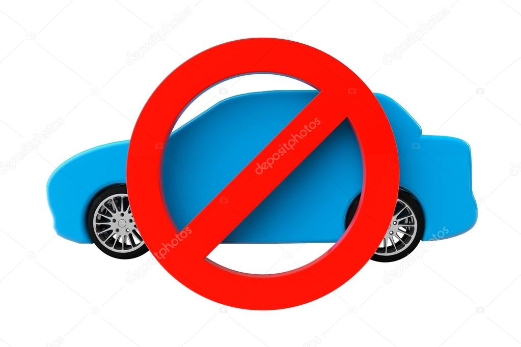No Cars Allowed Concept Car With Not Allowed Symbol Stock Photo