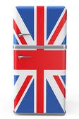 retro lednice s britskou vlajkou na dveře