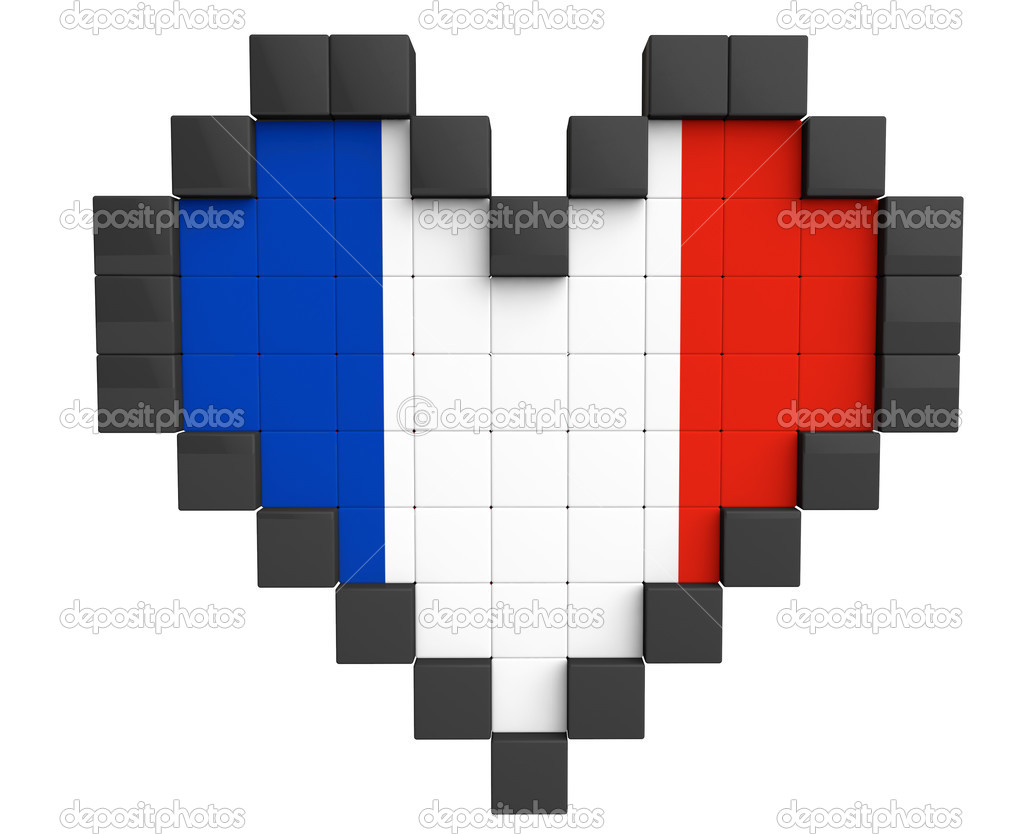 Pixel Heart As France Flag Stock Photo Doomu 29104215