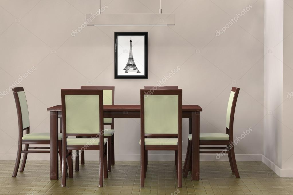 moderno tavolo e sedie per affrontare una parete vuota — Foto Stock ...
