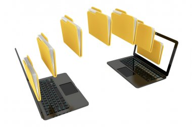 Two laptop computers with folders transferring between each othe