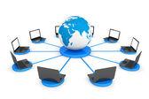 Připojte se k world wide web konceptu. přenosných počítačů s uchem