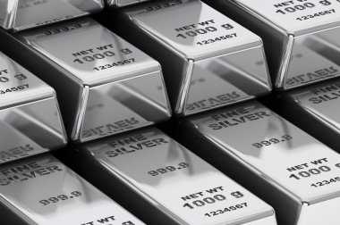 Stack of Bank Silver Bars closeup