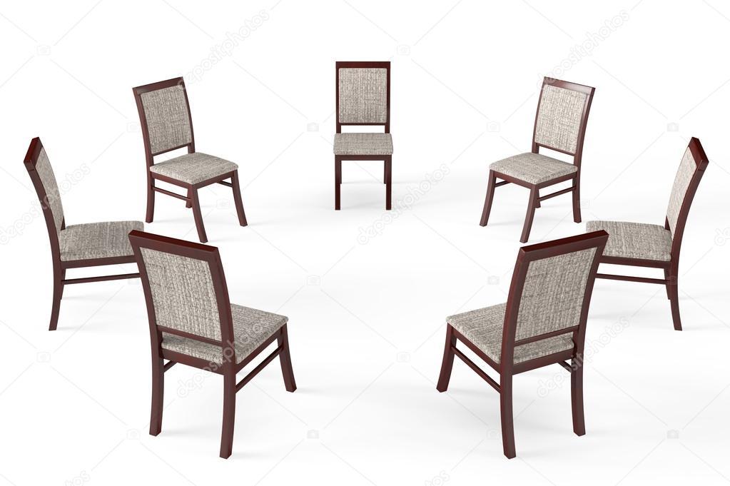 cerchio di sedie in legno moderni — Foto Stock © doomu #41739065