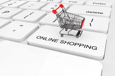 Extreme closeup Shopping Cart on a keyboard