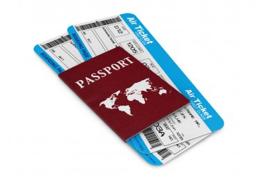 Air travel concept. Air Tickets with Passport