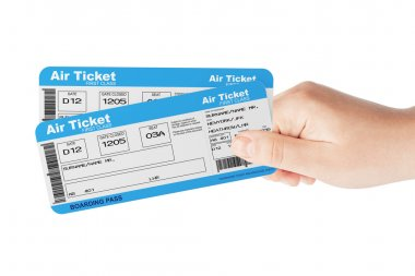 Fly air tickets holded by hand