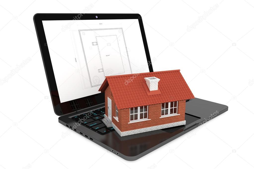 Progettazione Casa 3d : Casa d sul portatile con il modello di progetto casa u foto stock