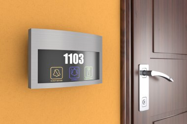 Hotel Electronic Doorplate Touch Doorbell Switch with Room Numbe