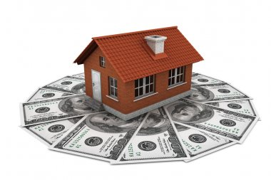 Real estate business concept. Dollars banknotes with Brick House