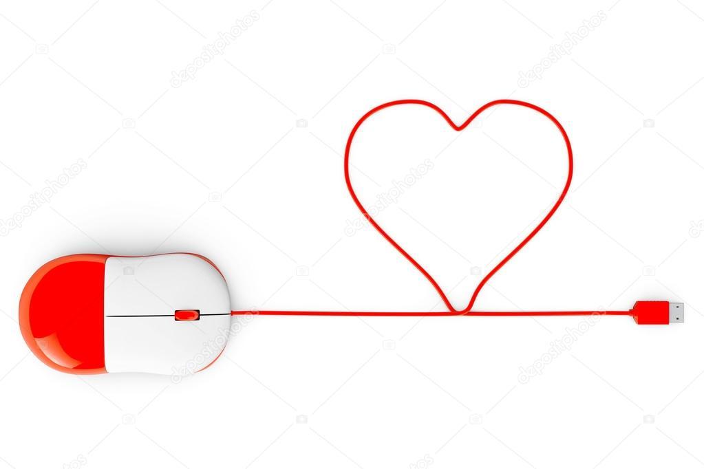 Computer-Maus und Kabel in Form von Herzen auf einem weißen ...