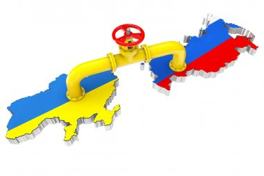Gas pipeline over Russian and Ukraine maps