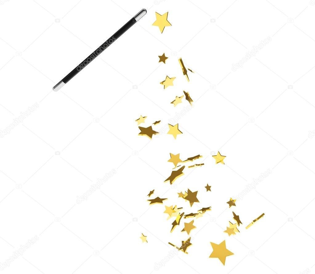 Magic wand casting shiny golden stars