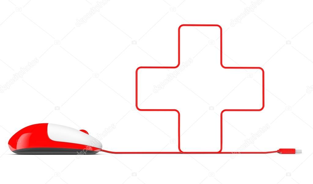 Computer-Maus und Kabel in Form von Kreuz — Stockfoto © doomu #50509667