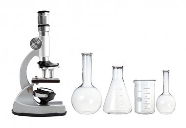 Laboratory metal microscope and empty test tubes isolated on whi