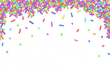 Border frame of colorful sprinkles isolated on white background