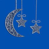 Závěsné dekorace filigránové krajky měsíc a hvězdy